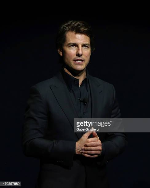 Actor Tom Cruise speaks during The State of the Industry Past Present and Future and Paramount Pictures Presentation at The Colosseum at Caesars...