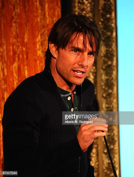 Actor Tom Cruise speaks onstage during the 5th Annual 'Oscar Wilde Honoring The Irish In Film' held at the Wilshire Ebell Theatre on March 4 2010 in...