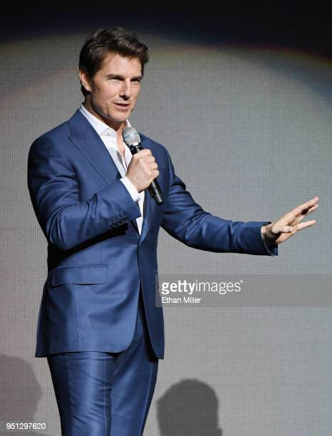 Actor Tom Cruise speaks onstage during the CinemaCon 2018 Paramount Pictures Presentation Highlighting Its Summer of 2018 and Beyond at The Colosseum...