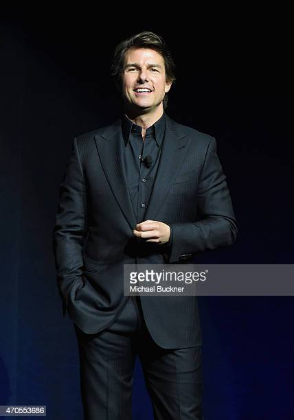 Actor Tom Cruise speaks onstage during The State of the Industry Past Present and Future and Paramount Pictures Presentation at The Colosseum at...