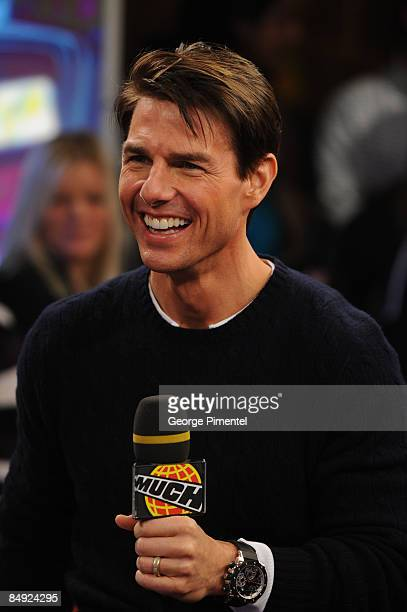 """Actor Tom Cruise visits MuchOnDemand for a live interview about his upcoming movie """"Valkyrie"""" at the MuchMusic HQ on December 8, 2008 in Toronto,..."""