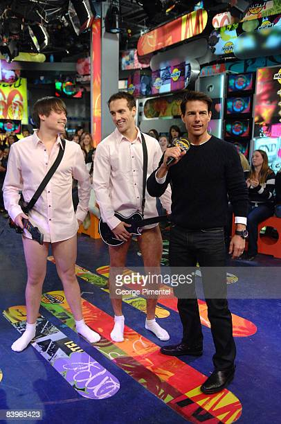 """Actor Tom Cruise with fans dressed up as Tom's """"Risky Business"""" Character on MuchOnDemand for a live interview about his upcoming movie """"Valkyrie"""" at..."""