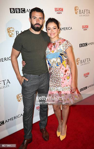 Actor Tom Cullen and actress Tatiana Maslany arrive at BAFTA Los Angeles BBC America TV Tea Party at The London Hotel on September 17 2016 in West...