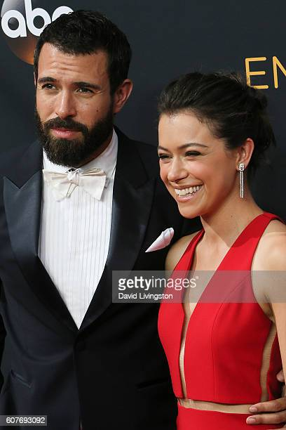 Actor Tom Cullen and actress Tatiana Maslany arrive at the 68th Annual Primetime Emmy Awards at the Microsoft Theater on September 18 2016 in Los...