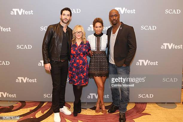 Actor Tom Ellis Actress Rachael Harris Actress LesleyAnn Brandt and Actor DB Woodside attends Lucifer event during aTVfest 2016 presented by SCAD on...
