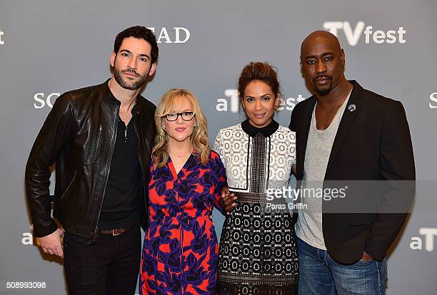 Actor Tom Ellis Actress Rachael Harris Actress LesleyAnn Brandt and Actor DB Woodside attends 'Lucifer' event during aTVfest 2016 presented by SCAD...
