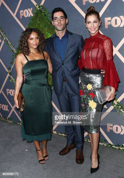 Actor Tom Ellis and actress Tricia Helfer attend FOX Fall Party at Catch LA on September 25 2017 in West Hollywood California
