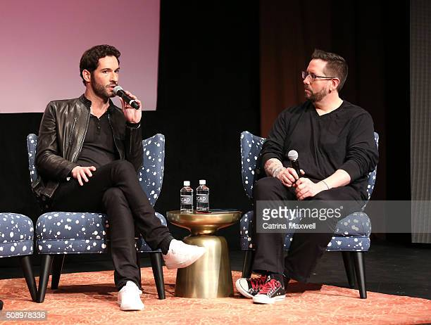 Actor Tom Ellis and moderator Damian Holbrook attends Lucifer event during aTVfest 2016 presented by SCAD on February 7 2016 in Atlanta Georgia