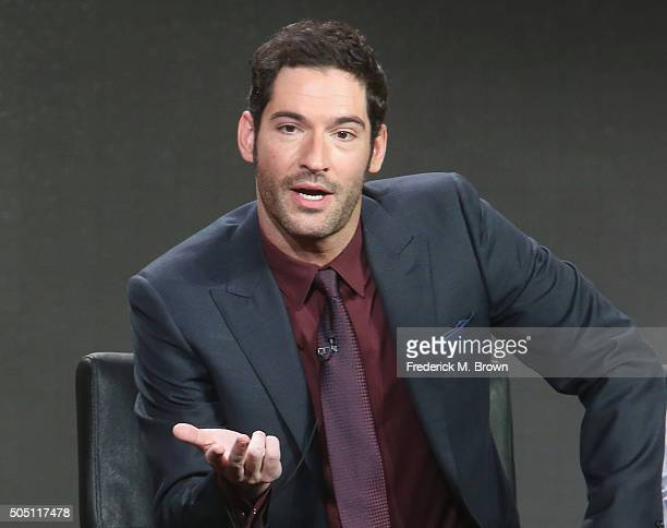 Actor Tom Ellis speak onstage during the Lucifer panel discussion at the FOX portion of the 2015 Winter TCA Tour at the Langham Huntington Hotel on...