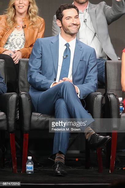 Actor Tom Ellis speaks onstage at 'Gotham/Lucifer' panel discussion during the FOX portion of the 2016 Television Critics Association Summer Tour at...