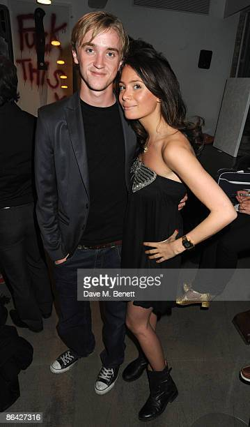 Actor Tom Felton and Jade Gordon attend the Art Against Knives charity auction at Shoreditch House on May 5 2009 in London England
