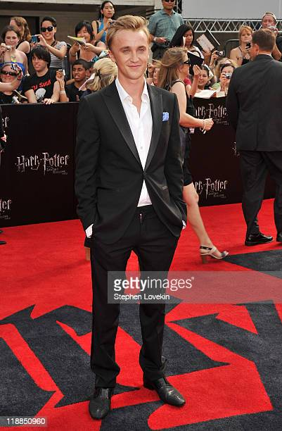 Actor Tom Felton attends the New York premiere of 'Harry Potter And The Deathly Hallows Part 2' at Avery Fisher Hall Lincoln Center on July 11 2011...