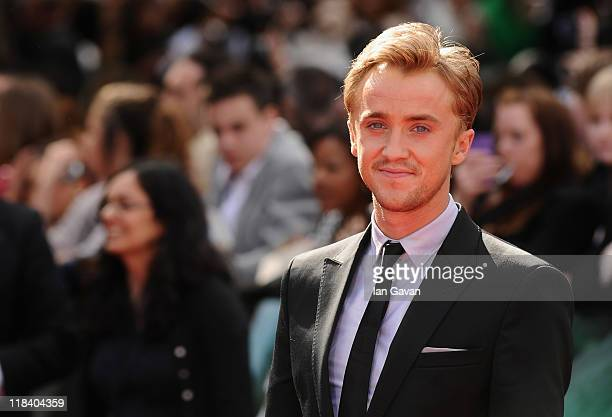 Actor Tom Felton attends the World Premiere of Harry Potter and The Deathly Hallows Part 2 at Trafalgar Square on July 7 2011 in London England