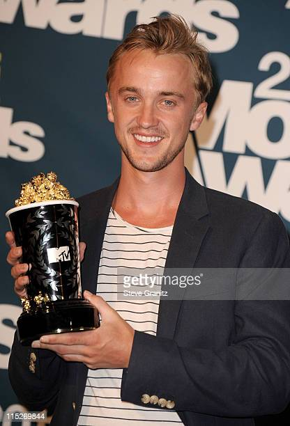 Actor Tom Felton poses in the press room during the 2011 MTV Movie Awards at Universal Studios' Gibson Amphitheatre on June 5 2011 in Universal City...