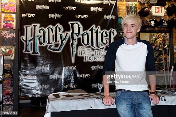 Actor Tom Felton who plays Draco Malfoy in 'Harry Potter The Half Blood Prince' attends a special signing and QA session at Hot Topic store a retail...
