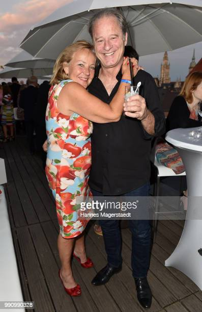 Actor Tom Gerhardt and Gabriele Walther during the summer party at Hotel Bayerischer Hof on July 3 2018 in Munich Germany