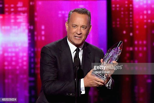 Actor Tom Hanks accepts an award onstage during the People's Choice Awards 2017 at Microsoft Theater on January 18 2017 in Los Angeles California