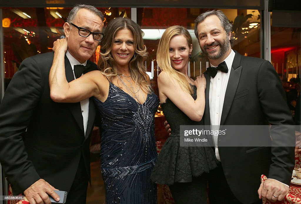 Actor Tom Hanks, actress Rita Wilson, actress Leslie Mann, and producer/director Judd Apatow attend HBO's Post 2014 Golden Globe Awards Party held at Circa 55 Restaurant on January 12, 2014 in Los Angeles, California.
