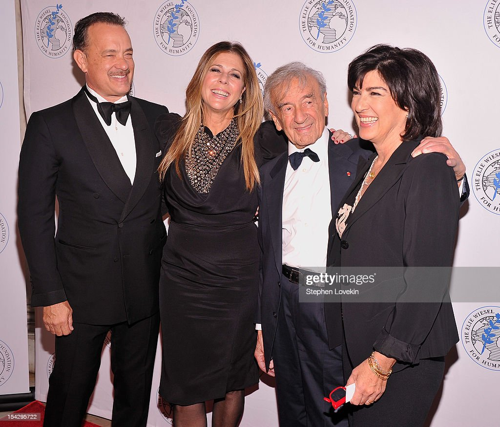 Actor Tom Hanks, actress Rita Wilson, writer/political activist Elie Wiesel, and CNN chief international correspondent Christiane Amanpour attend the 2012 Arts For Humanity Gala at New York Public Library on October 17, 2012 in New York City.
