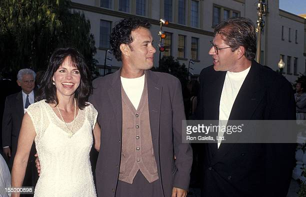 Actor Tom Hanks actress Sally Field and director Robert Zemeckis attend the Forrest Gump Hollywood Premiere on June 23 1994 at the Paramount Studios...