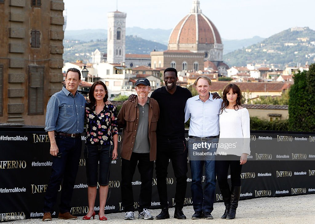 Actor Tom Hanks, actress Sidse Babett Knudsen, director Ron Howard, actor Omar Sy, writer Dan Browne and actress Felicity Jones attend 'Inferno' photocall at Palazzo Pitti on May 11, 2015 in Florence, Italy.