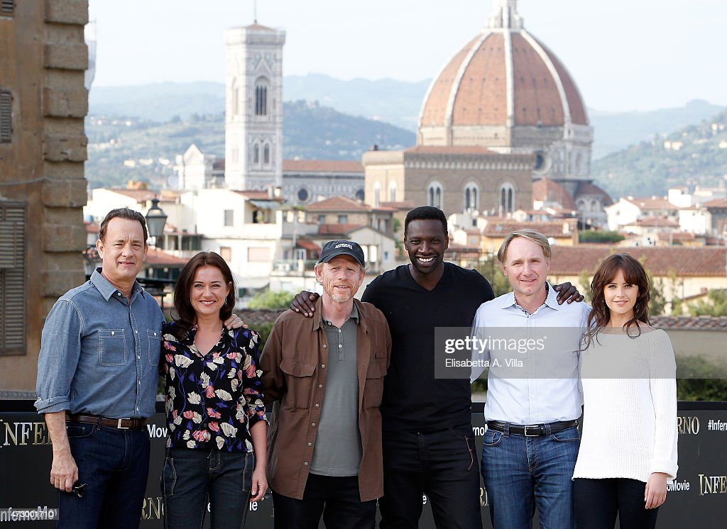 Actor Tom Hanks, actress Sidse Babett Knudsen, director Ron Howard, actor Omar Sy, writer Dan Brown and actress Felicity Jones attend 'Inferno' photocall at Palazzo Pitti on May 11, 2015 in Florence, Italy.