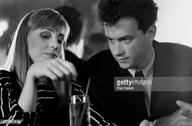 Actor Tom Hanks and actress Bess Armstrong on the set of the Thompson Twins music video for the theme song of the movie 'Nothing In Common' Chicago...