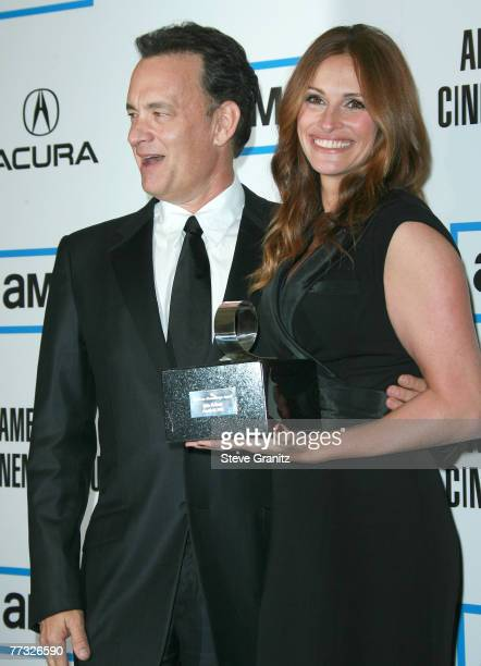 Actor Tom Hanks and Actress Julia Roberts at The 22nd Annual American Cinematheque Award at the Beverly Hilton Hotel on October 12 2007 in Beverly...