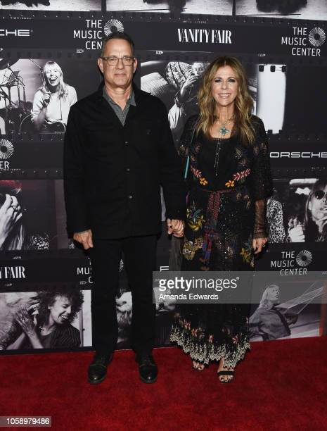 Actor Tom Hanks and actress Rita Wilson arrive at JONI 75: A Birthday Celebration Live at the Dorothy Chandler Pavilion on November 7, 2018 in Los...