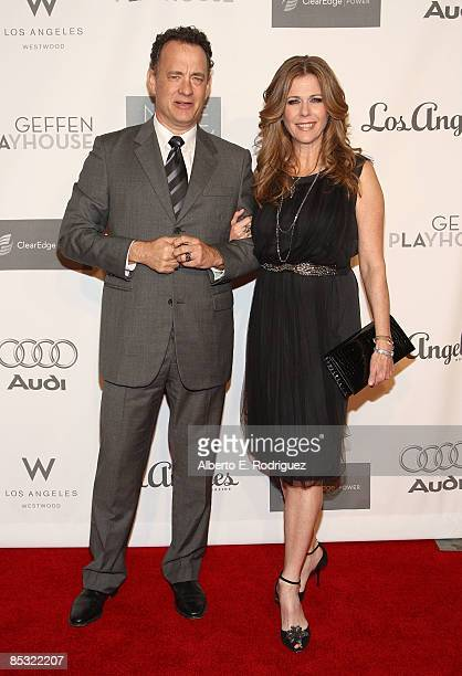 Actor Tom Hanks and actress Rita Wilson arrive at the 7th Annual Backstage at the Geffen Gala on March 9 2009 in Los Angeles California
