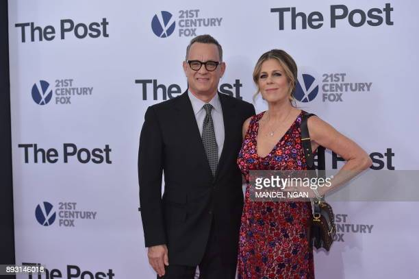Actor Tom Hanks and actress Rita Wilson arrive for the premiere of The Post on December 14 in Washington DC / AFP PHOTO / Mandel NGAN