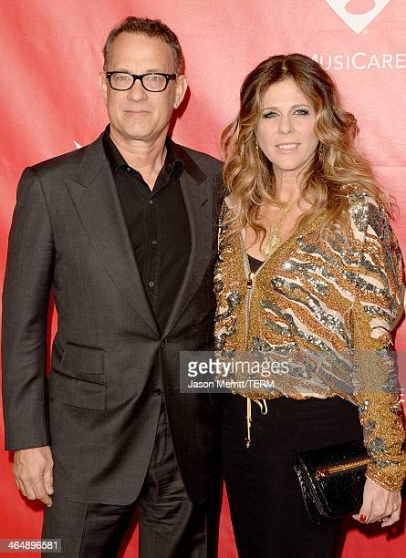 Actor Tom Hanks and actress Rita Wilson attend The 2014 MusiCares Person Of The Year Gala Honoring Carole King at Los Angeles Convention Center on...