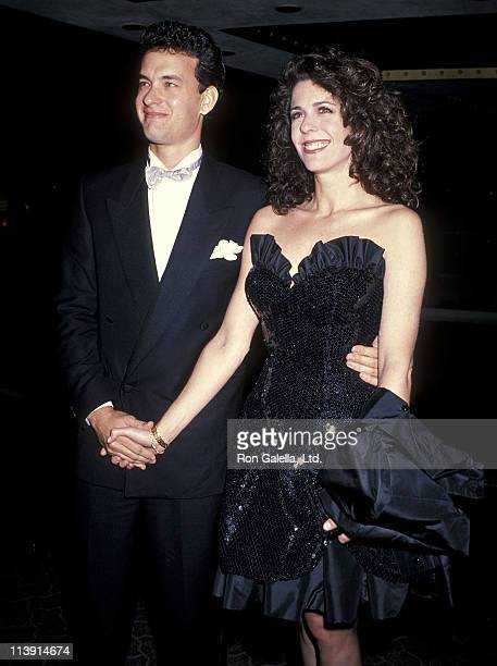 Actor Tom Hanks and actress Rita Wilson attend the 46th Annual Golden Globe Awards on January 28, 1989 at Beverly Hilton Hotel in Beverly Hills,...