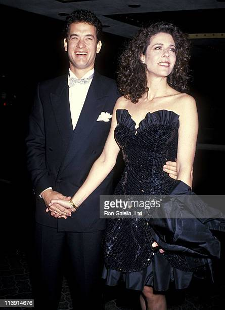 Actor Tom Hanks and actress Rita Wilson attend the 46th Annual Golden Globe Awards on January 28 1989 at Beverly Hilton Hotel in Beverly Hills...