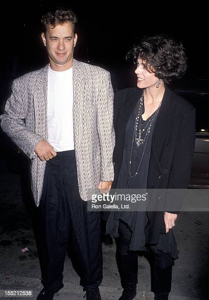 """Actor Tom Hanks and actress Rita Wilson attend the """"Joe Versus the Volcano"""" Westwood Premiere on March 7, 1990 at Mann Regent Theatre in Westwood,..."""