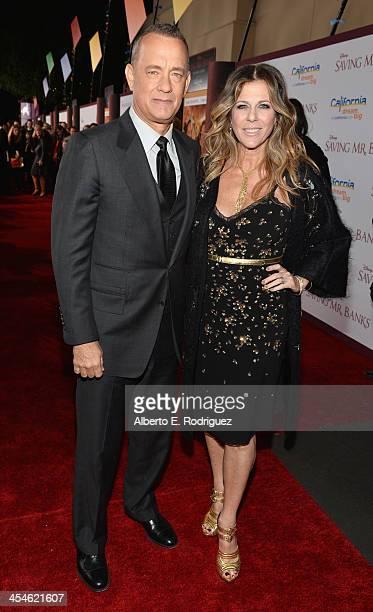 Actor Tom Hanks and actress Rita Wilson attend the US Premiere Of Disney's Saving Mr Banks at Walt Disney Studios on December 9 2013 in Burbank...