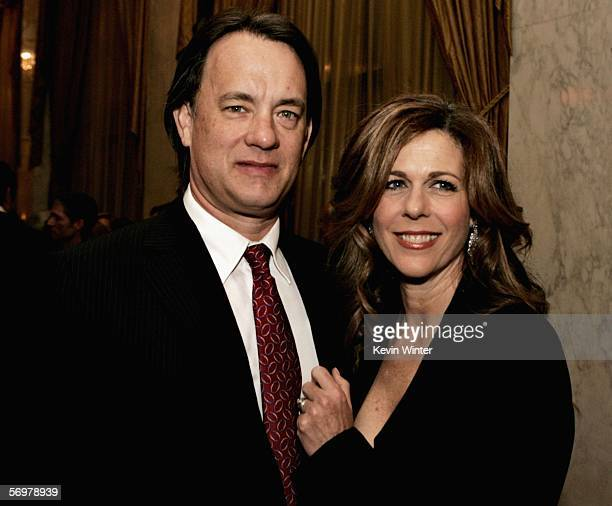 Actor Tom Hanks and actress Rita Wilson speak during the EIF's Women's Cancer Research Fund honoring Melissa Etheridge at Saks Fifth Avenue's...
