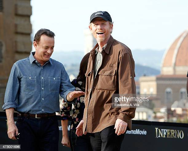 Actor Tom Hanks and director Ron Howard attend 'Inferno' photocall at Palazzo Pitti on May 11, 2015 in Florence, Italy.