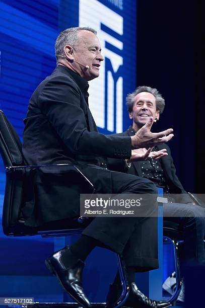 Actor Tom Hanks and director/producer Brian Grazer speak onstage during 2016 Milken Institute Global Conference at The Beverly Hilton on May 02 2016...