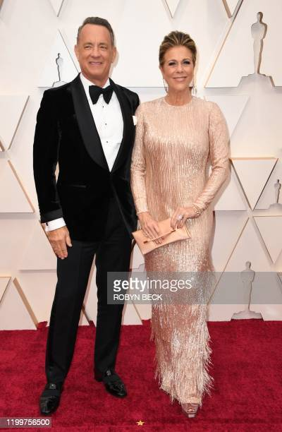 US actor Tom Hanks and his wife actress Rita WIlson arrive for the 92nd Oscars at the Dolby Theatre in Hollywood California on February 9 2020