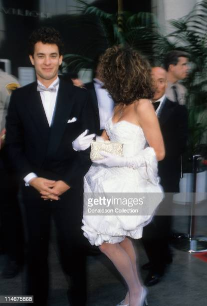 Actor Tom Hanks and his wife actress Rita Wilson at Academy Awards in March 1987 in Los Angeles California