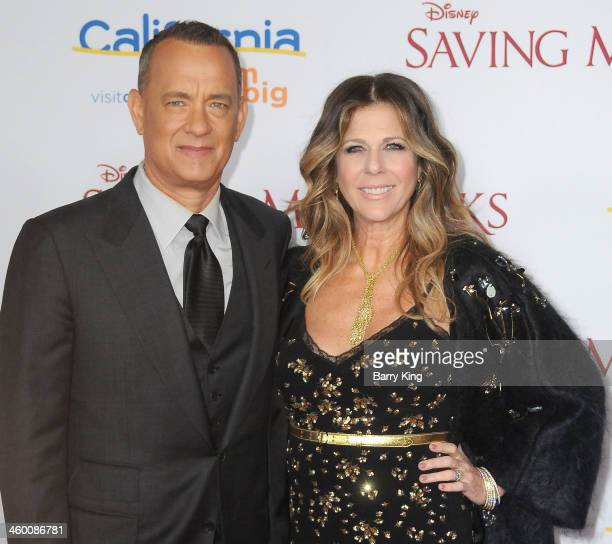 Actor Tom Hanks and his wife actress Rita Wilson attend the premiere of 'Saving Mr Banks' on December 9 2013 at Walt Disney Studios in Burbank...