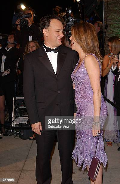 Actor Tom Hanks and his wife actress Rita Wilson attend the Vanity Fair Oscar Party at Mortons March 24, 2002 in West Hollywood, CA.