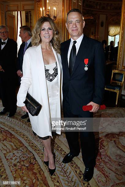 Actor Tom Hanks and his wife actress Rita Wilson attend Tom Hanks Tom Brokaw Gordon 'Nick' Mueller receive the Legion d'Honneur Medal at Palais de la...