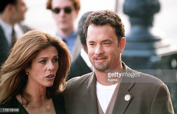Actor Tom Hanks and his wife actress Rita Wilson circa 1995