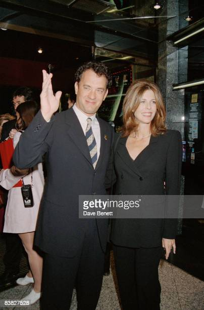 Actor Tom Hanks and his wife Rita Wilson attend the premiere after-party for 'Apollo 13' at Planet Hollywood, London, 6th September 1995.