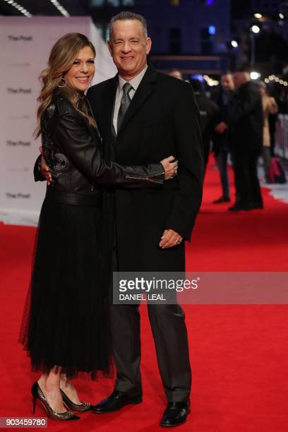 Actor Tom Hanks and his wife, US actress Rita Wilson pose on the red carpet on arrival for the European Premiere of The Post in London on January 10,...