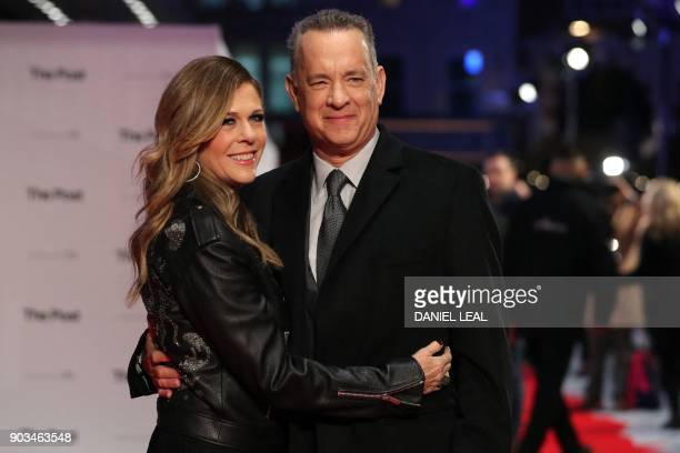 US actor Tom Hanks and his wife US actress Rita Wilson pose on the red carpet on arrival for the European Premiere of The Post in London on January...