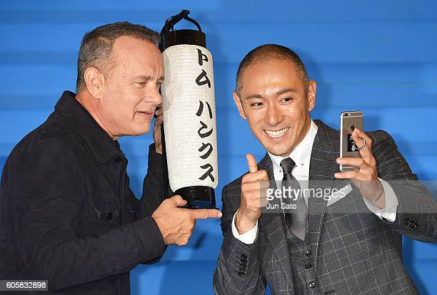 Actor Tom Hanks and Kabuki actor Ebizo Ichikawa attend the Sully Tokyo Premiere at Yurakucho Mullion on September 15 2016 in Tokyo Japan
