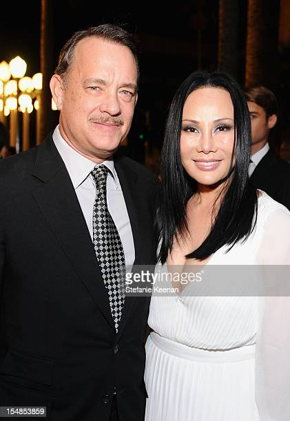 Actor Tom Hanks and LACMA Trustee Eva Chow attend LACMA 2012 Art Film Gala Honoring Ed Ruscha and Stanley Kubrick presented by Gucci at LACMA on...